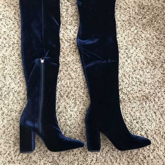 Navy Blue Over The Knee Boots